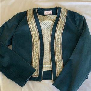 Vintage 1970s Velvet Banded Fitted Short Jacket